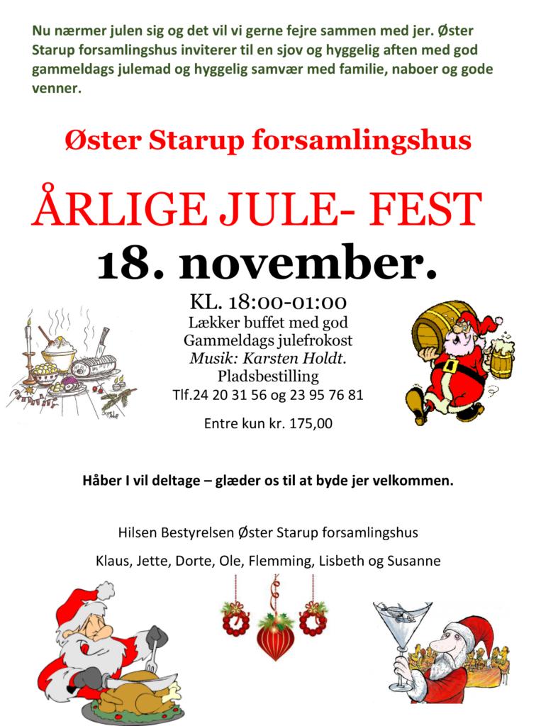 Årlige Julefest @ Øster Starup Forsamlingshus | Egtved | Danmark